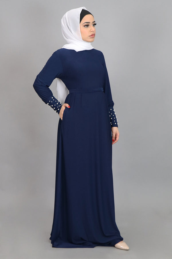 Navy Blue Pearl Sleeve Spandex Maxi Dress (4549668012089)