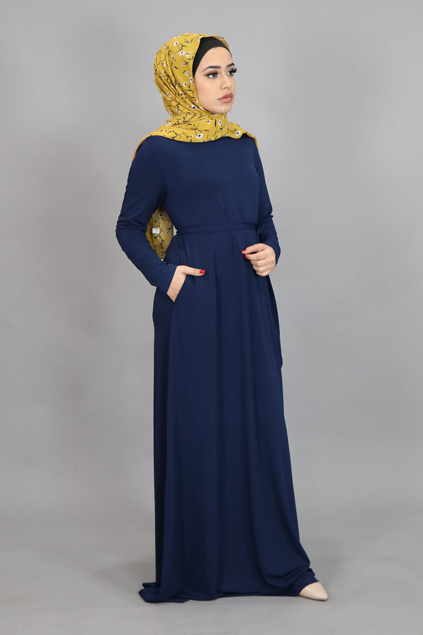 Navy Blue Long Sleeve Spandex Maxi Dress (4534770237497)