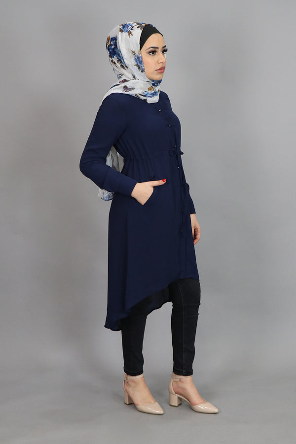 Navy Blue Chiffon Buttoned-Down Tunic (4537308381241)
