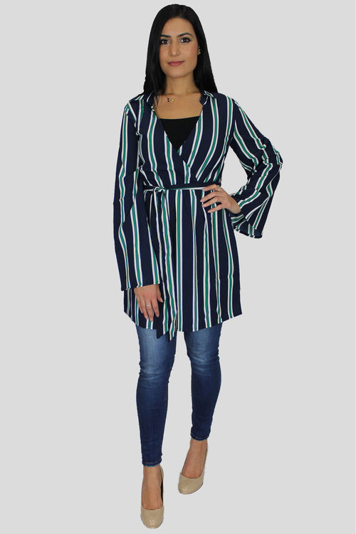 Navy Blue Striped Cardigan Wrap Dress