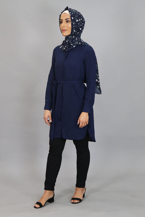 Navy Blue Plain Long Blouse (4545278345273)