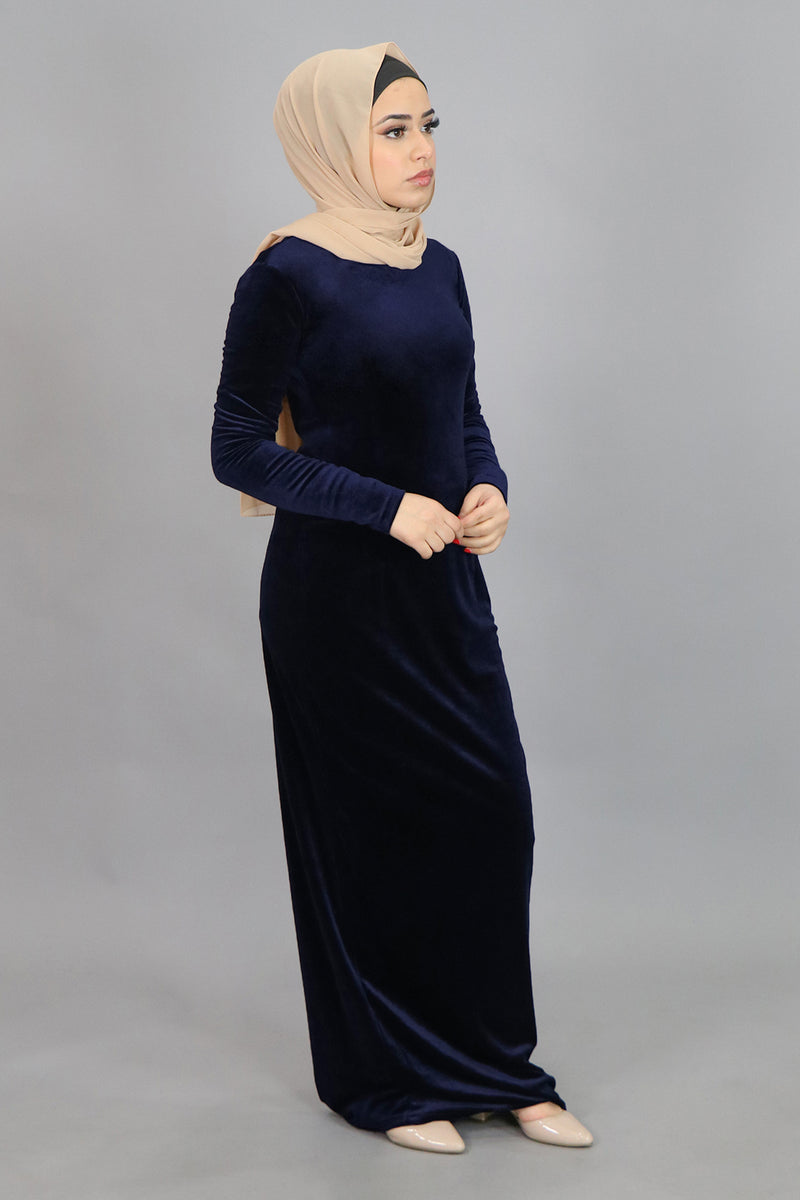 Navy Blue Plain Fitted Velvet Maxi Dress (4622388428857)