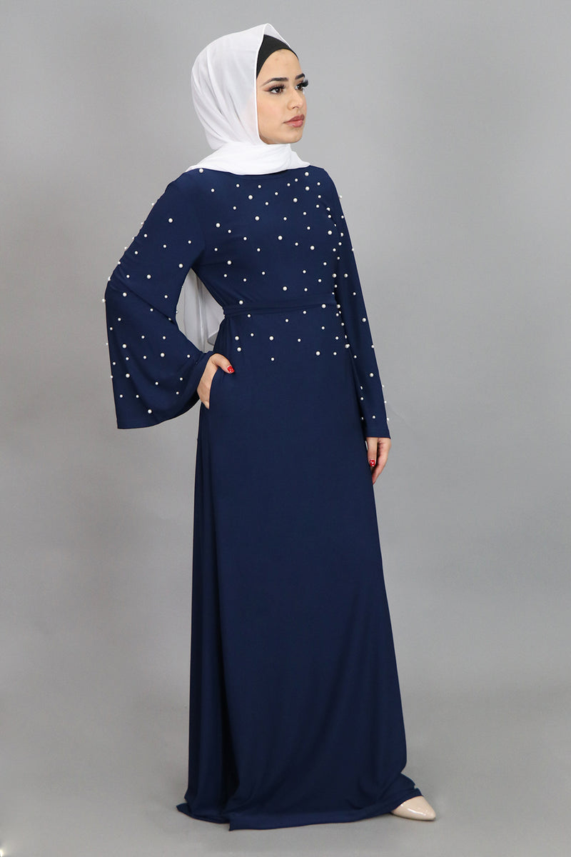Navy Blue Wide Sleeve Pearls Spandex Maxi Dress (4549737316409)