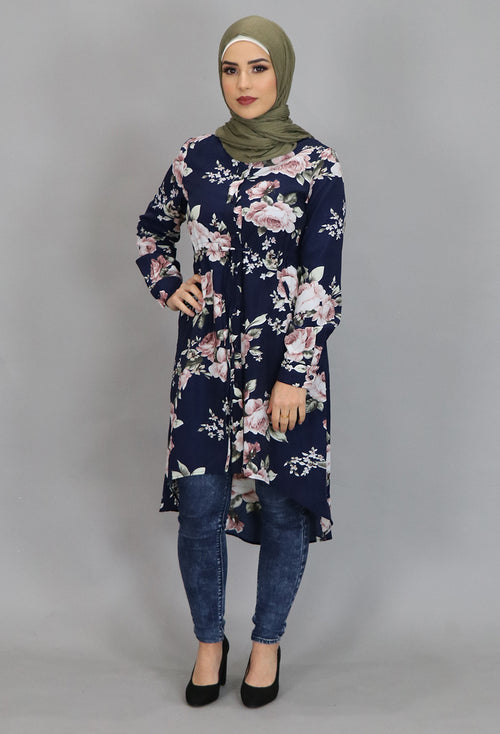 Navy Blue Floral Buttoned-Down Tunic Dress (4364282036281)