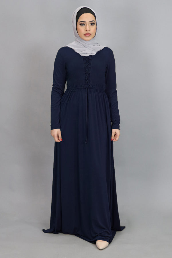 Navy Blue Lace-up Spandex Maxi Dress (4552306786361)