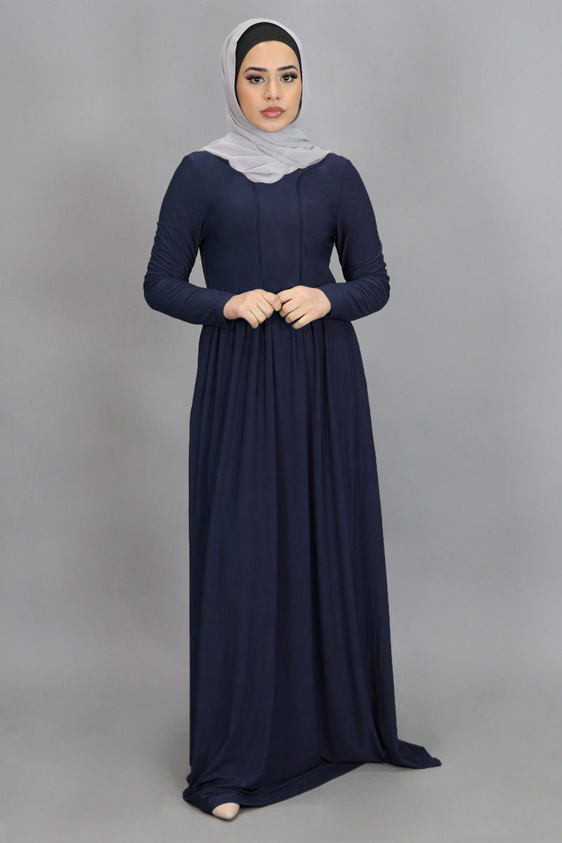 Navy Blue Spandex Outline Maxi Dress (4540272869433)
