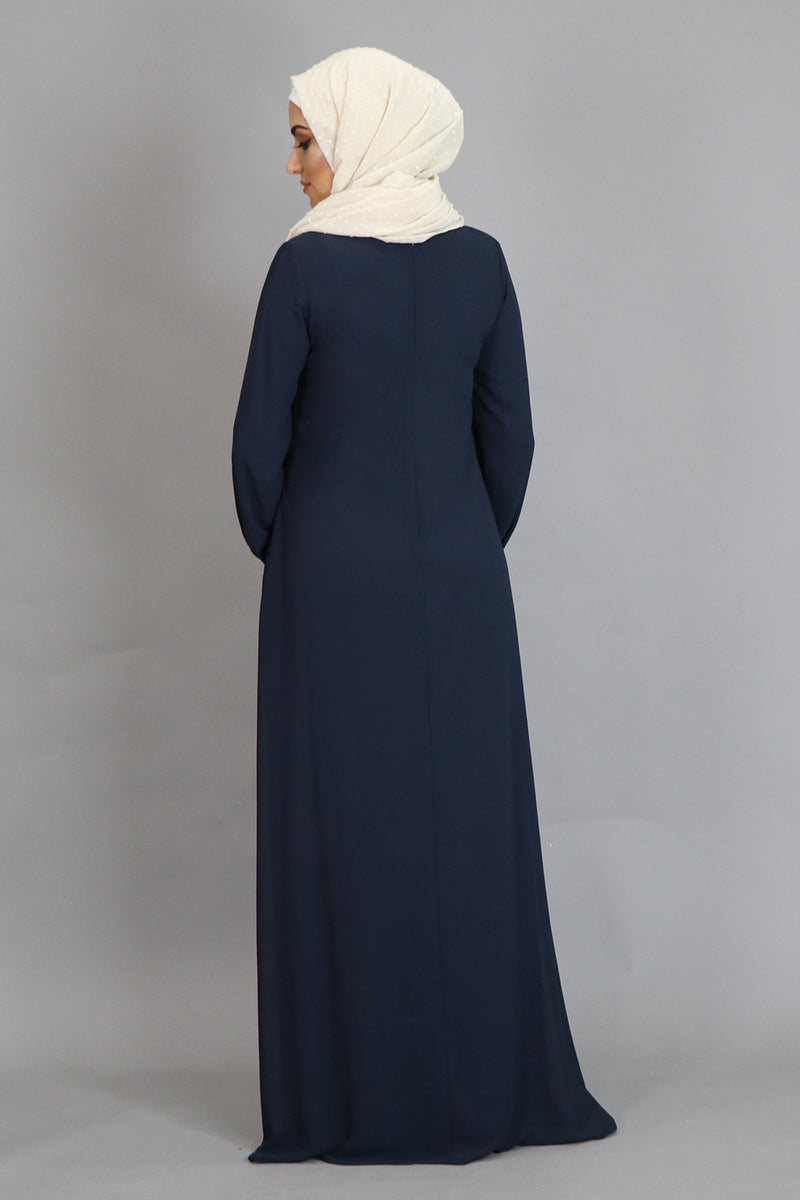 Navy Blue Pleated Chiffon Abaya (2452662681657)