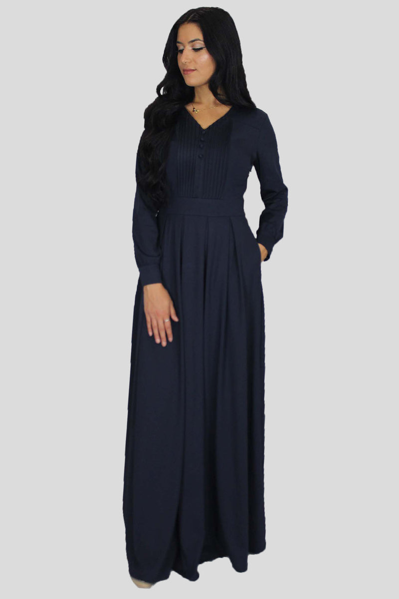 Navy Blue Pleated Maxi Dress (1611167662137)