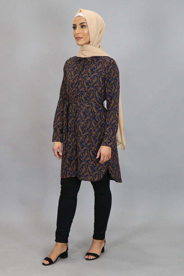 Navy Blue Floral Long Blouse (4545273397305)