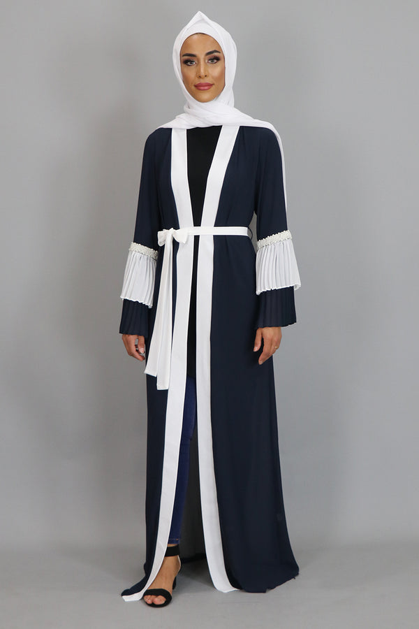 Navy Blue Chiffon Double Bell Cardigan Dress (2381737001017)