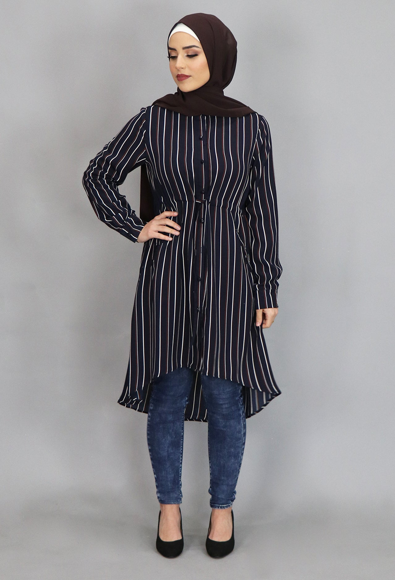 Navy Blue/Red Stripped Buttoned-Down Tunic Dress (4364322897977)