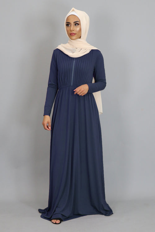 Navy Blue Pleated Spandex Maxi Dress (2452676837433)