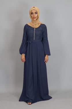 Navy Blue Lace Chiffon Maxi Dress (2381951926329)