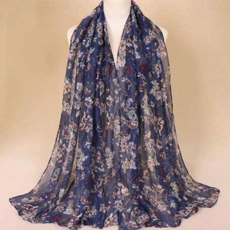 Navy/beige Floral Cotton Scarf (2259847381049)