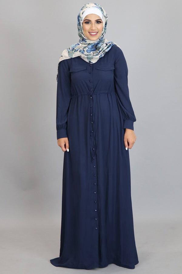 Navy Blue Chiffon Buttoned-Down Maxi Dress (2361326469177)