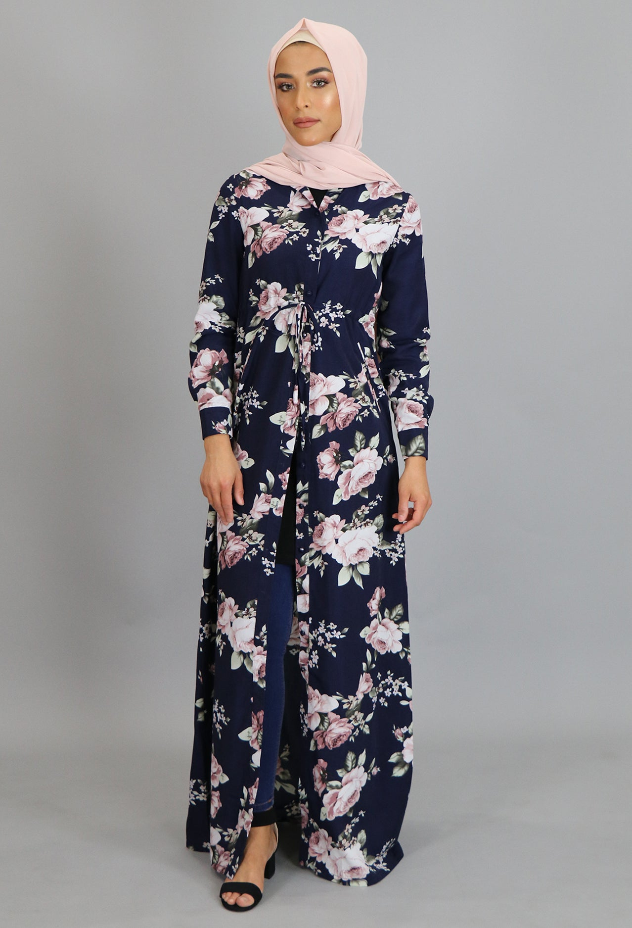 Navy Blue Floral Buttoned-Down Maxi Dress (2223621603385)