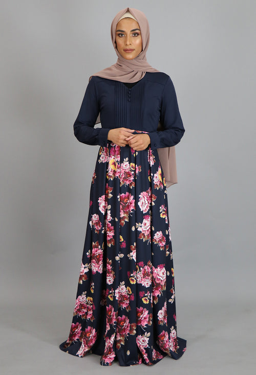 Navy Blue Pleated Floral Maxi Dress