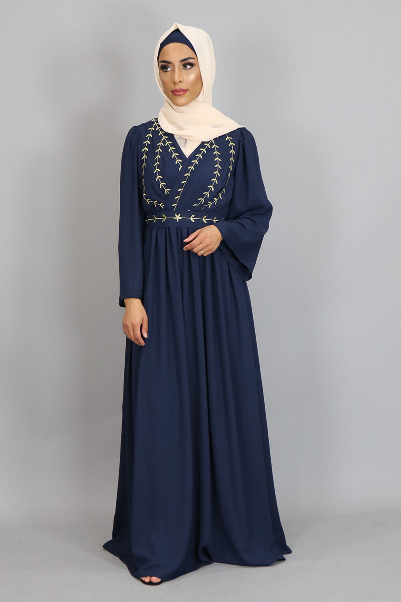 Navy Blue Embroidery Folds Maxi Dress (2381937475641)