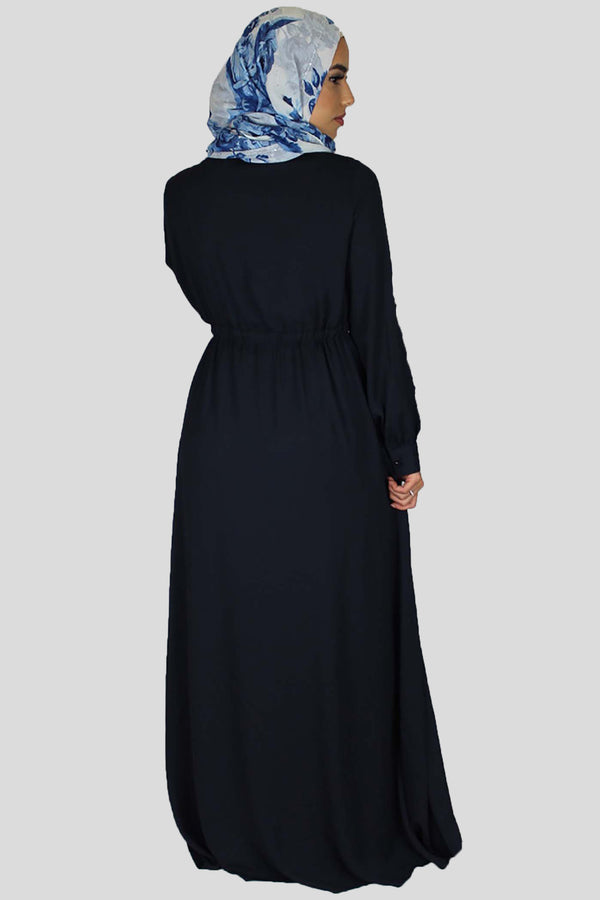Navy Blue Lace-up Chiffon Maxi Dress (754959941689)