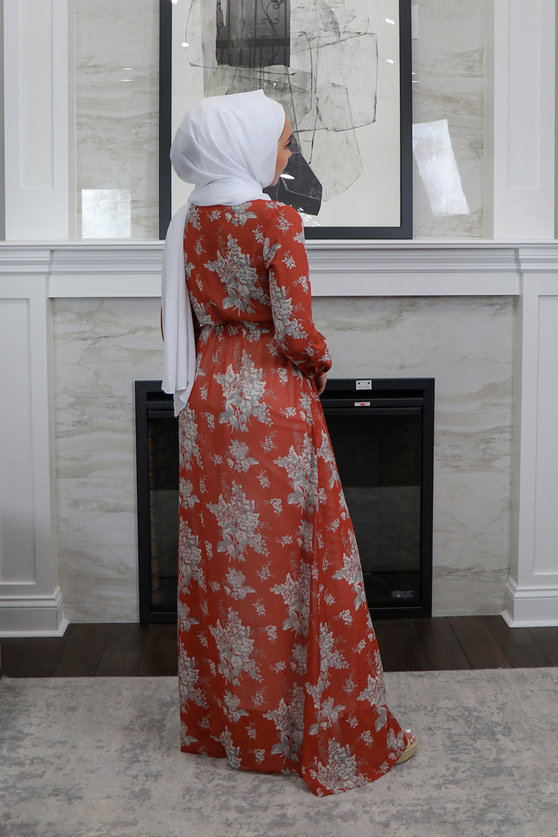 Dark Orange Floral Button Down Maxi Dress