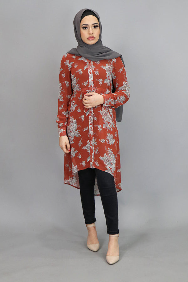 Dark Orange Floral Buttoned-Down Tunic (4537298452537)