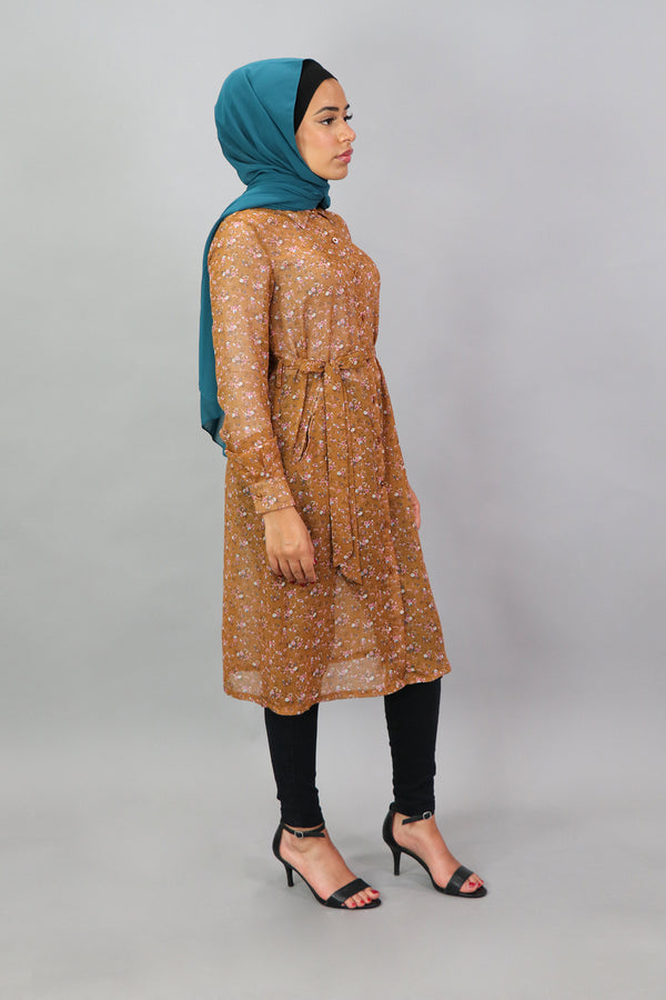 Burnt Orange Floral Long Tunic (4545219330105)