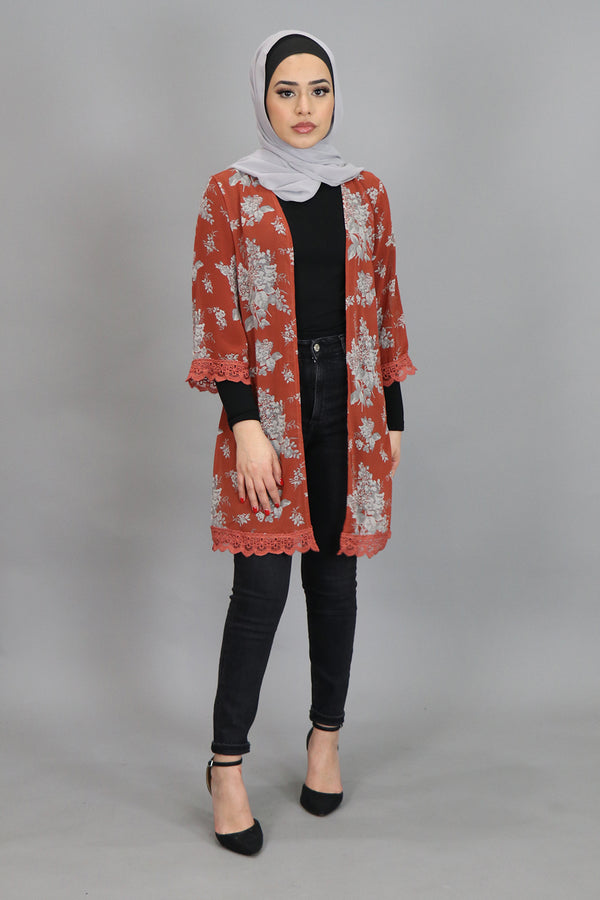 Dark Orange Floral Lace Trim Kimono (4547351216185)