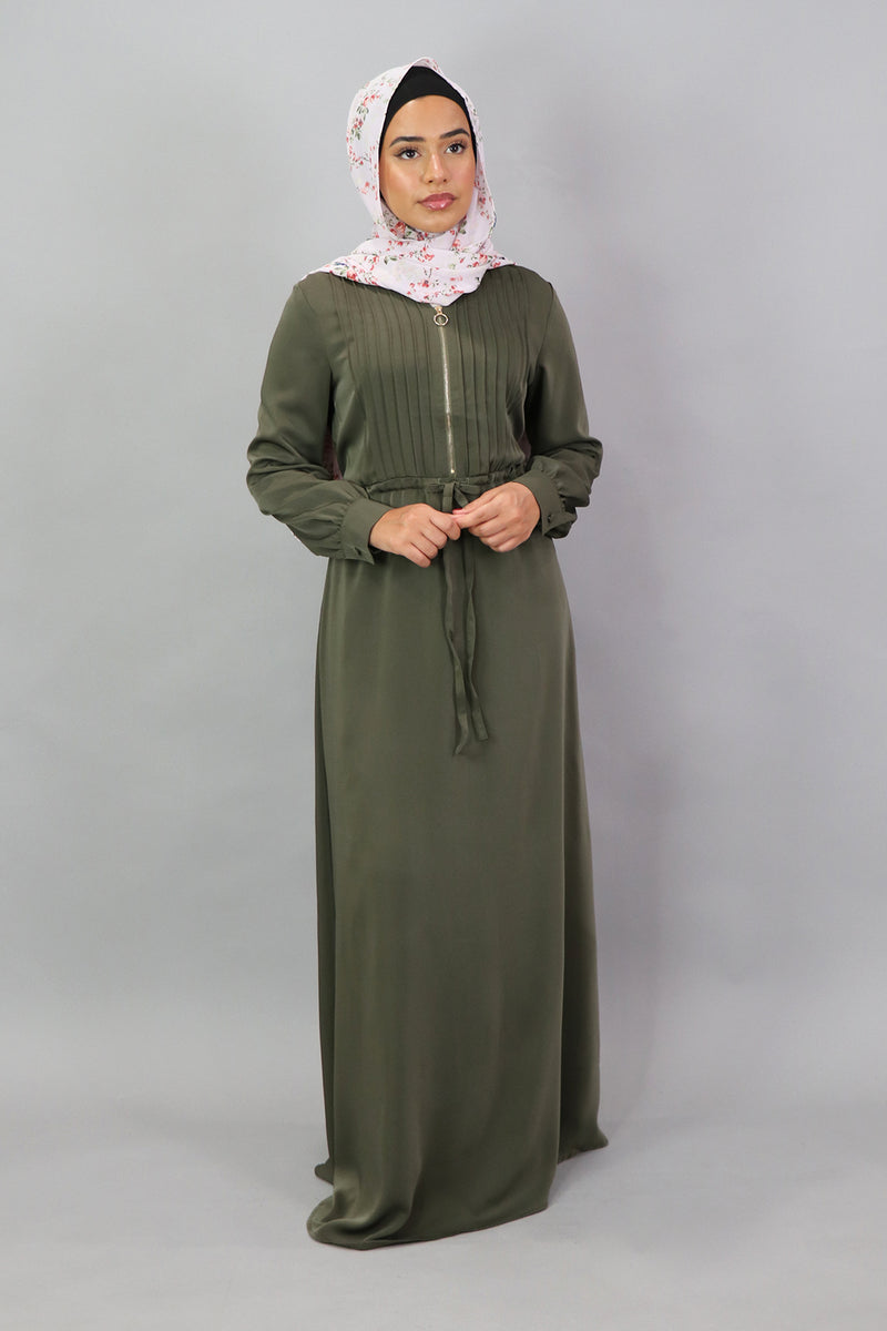 Army Green Deluxe Soft Pleated Dress (5300864155816)