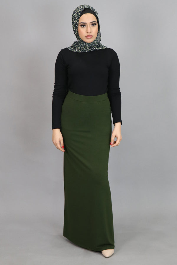 Olive Green Spandex Maxi Skirt (4537000624185)