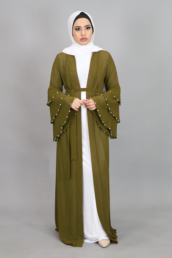 Olive Green Chiffon Pearls Abaya Buttoned-Down Cardigan Dress (4644770250809)