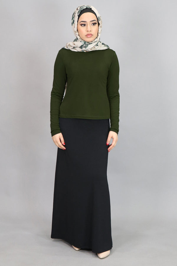 Olive Green Long Sleeve Top (4549427888185)