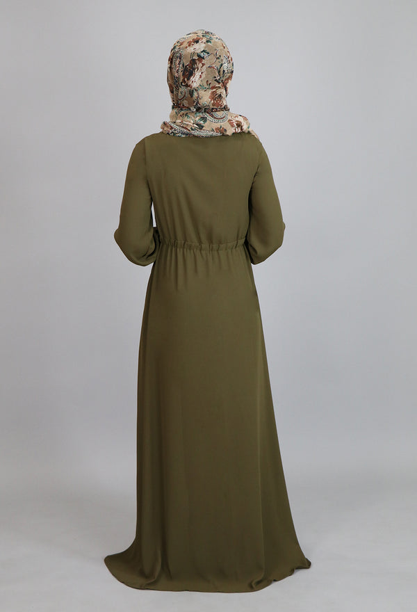 Olive Green Lace-up Chiffon Maxi Dress (2172964405305)