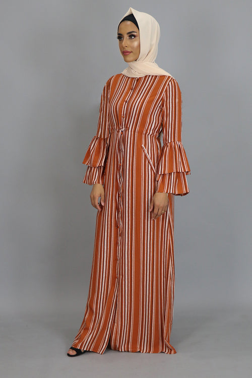 Ginger Striped Buttoned-Down Maxi Dress