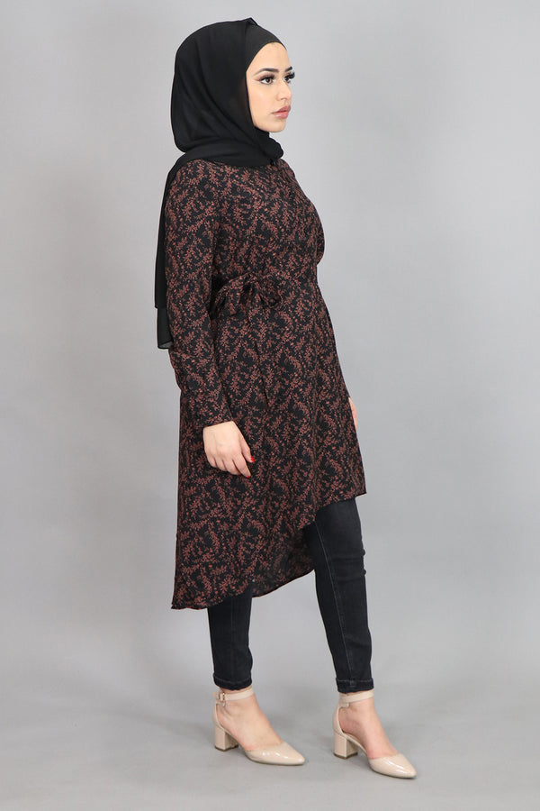 Black Floral High Low Tunic (4545281065017)