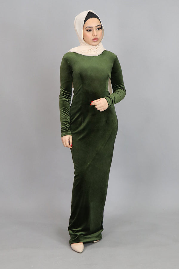 Olive Green Plain Fitted Velvet Maxi Dress (4549816090681)