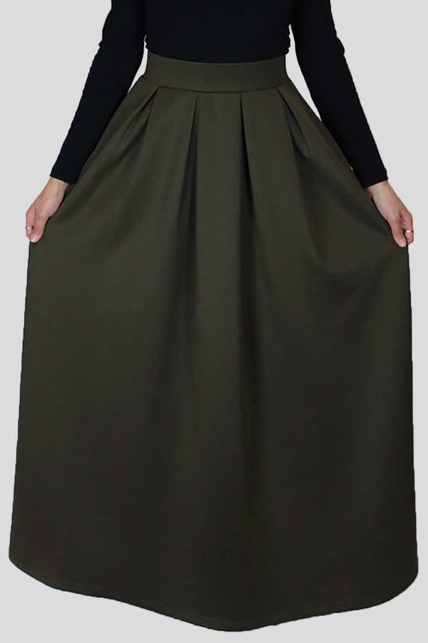 Olive Green Spandex Folds Skirt (666953646137)