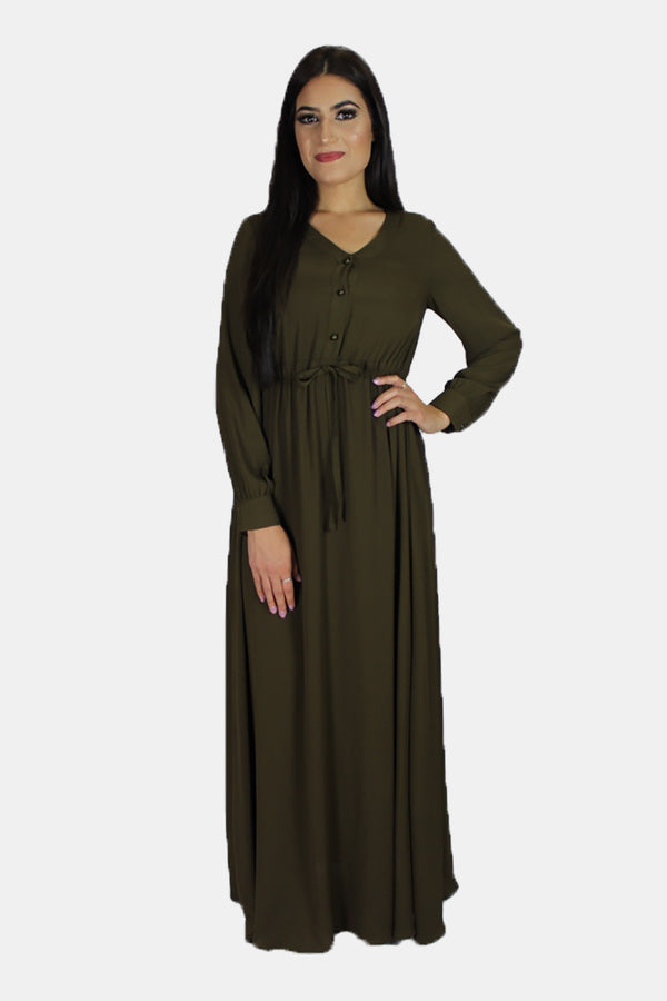 Olive Green Chiffon Button Maxi Dress (11218959566)