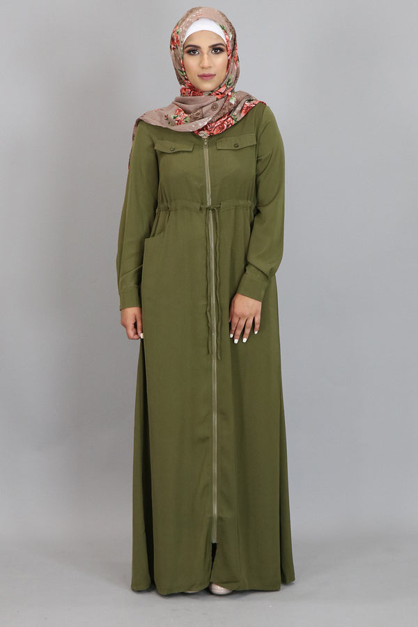 Olive Green Zipper-Down Maxi Dress (2310736674873)