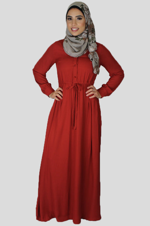 Fire Orange Chiffon Button Maxi Dress (696608653369)