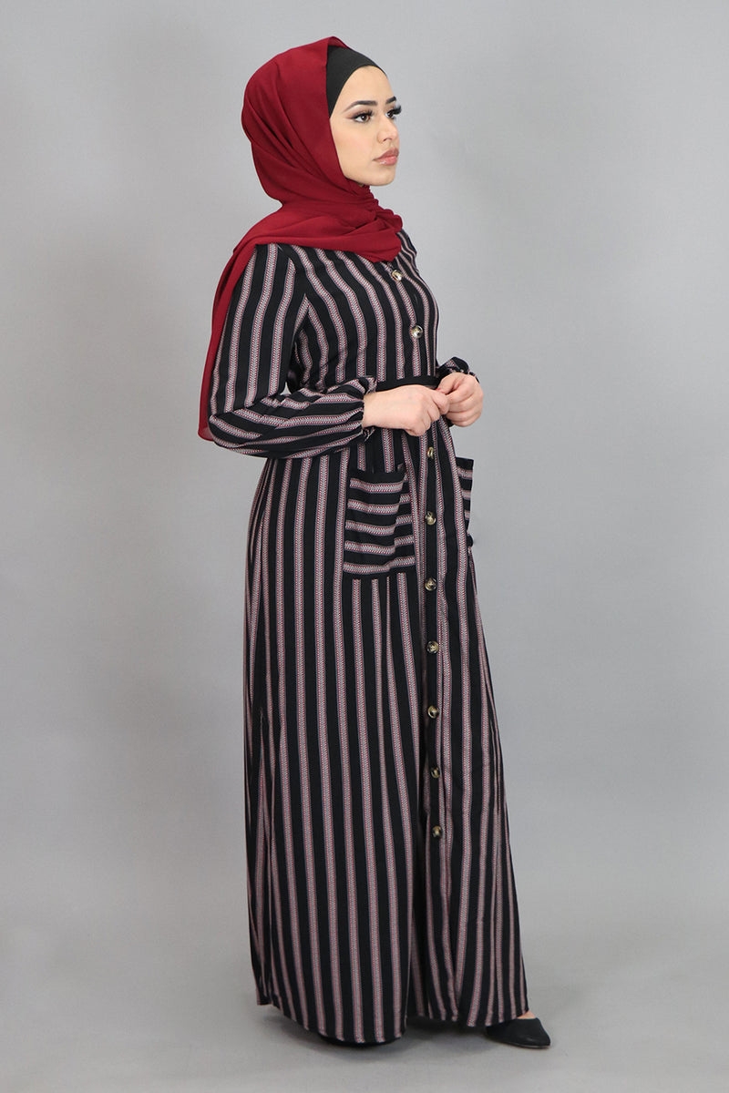 Black Aztec Striped Pocket Buttoned-Down Maxi Dress (4547997892665)
