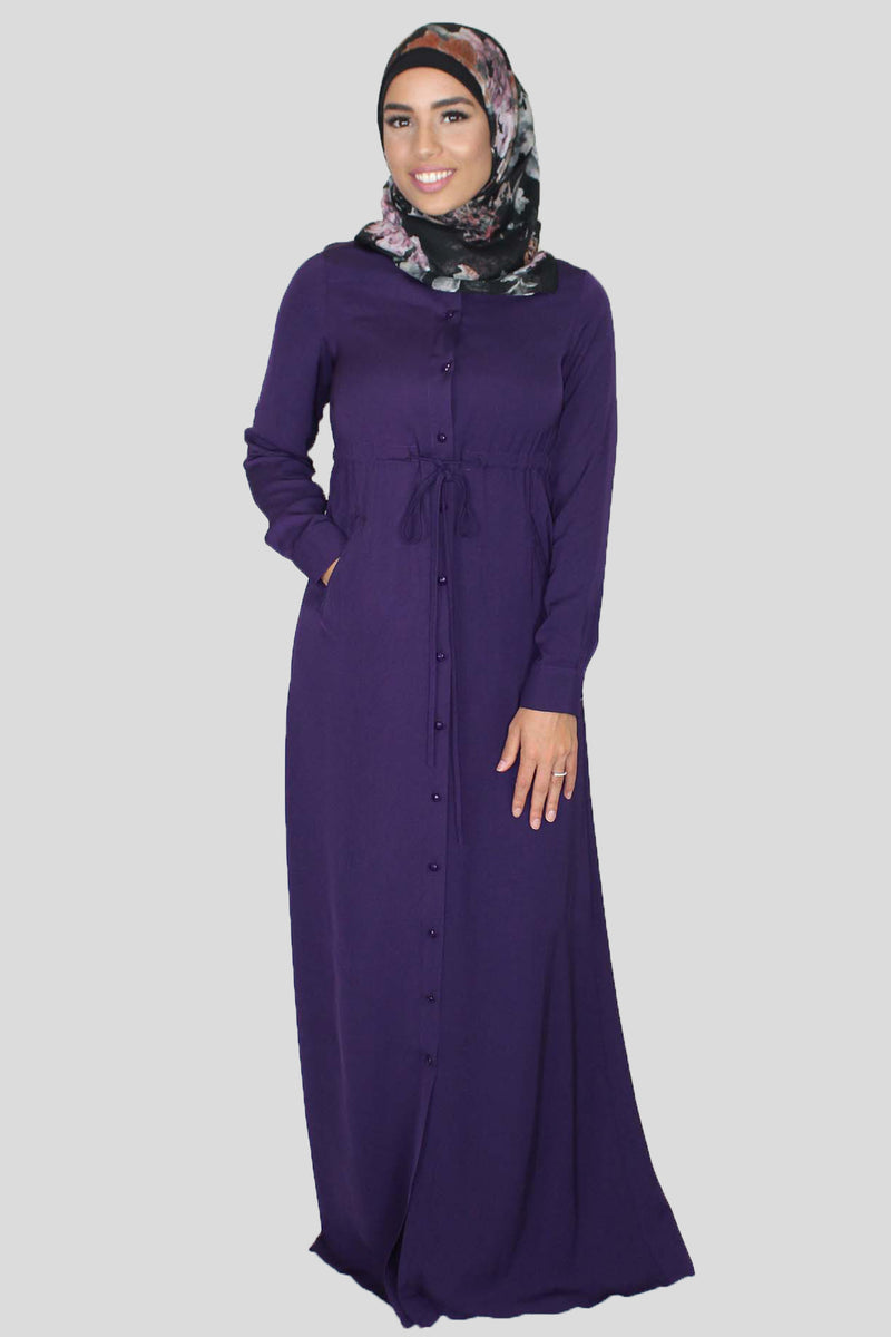 Dark Purple Buttoned-Down Maxi Dress (1483802181689)
