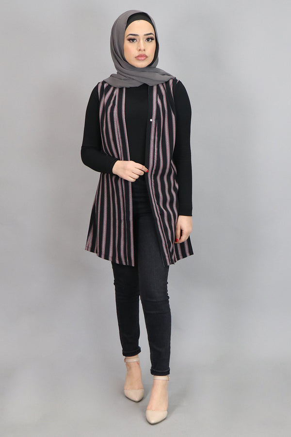Aztec Black Striped Sleeveless Kimono (4542862491705)