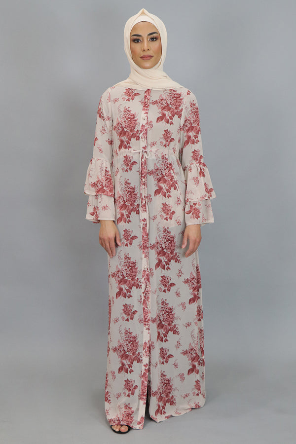 White & Pink Floral Bell Sleeve Buttoned-Down Maxi Dress (4547928784953)