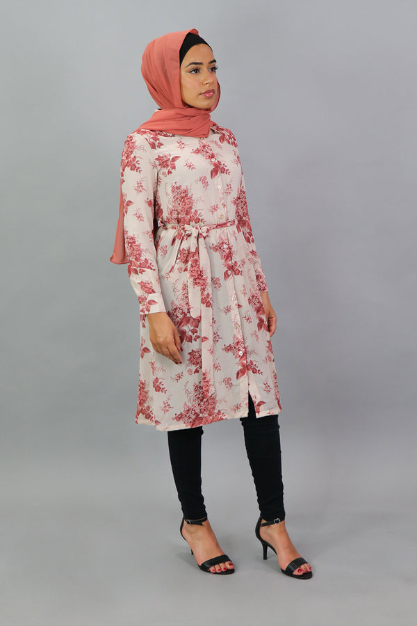 Beige Pink Floral Long Tunic (4545220444217)