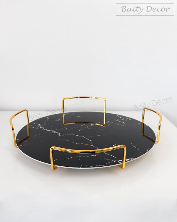 2 Black Marbleized Trays (4608068288569)