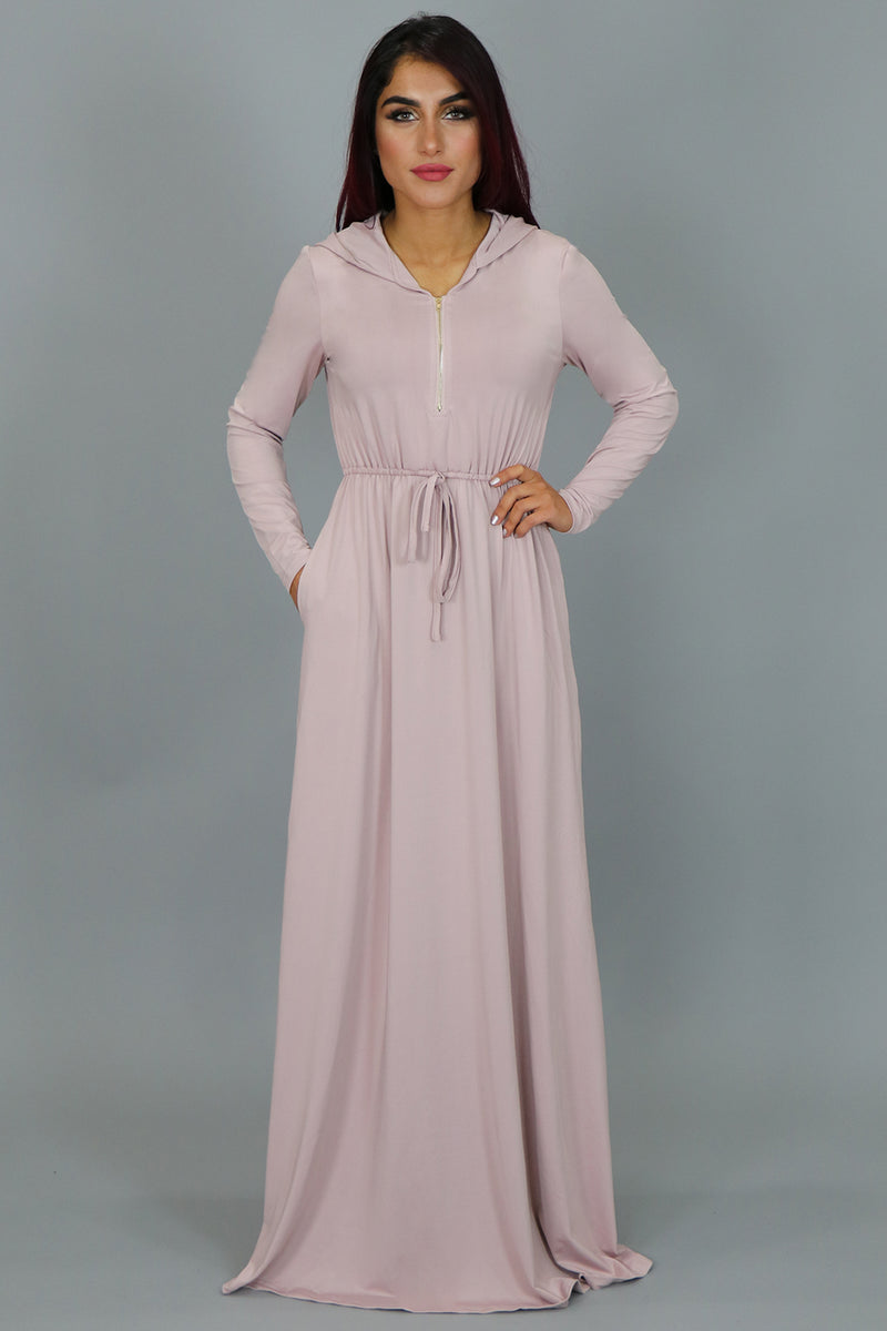 Light Pink Alexa Zipper Maxi Dress (2097515659321)