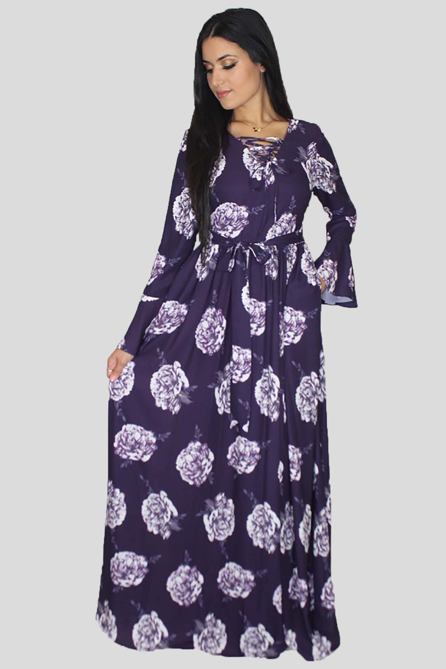a6cd9e2386 Purple Bell Sleeves Floral Maxi Dress – Abayati Fashion