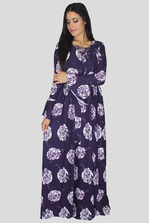 Purple Bell Sleeves Floral Maxi Dress