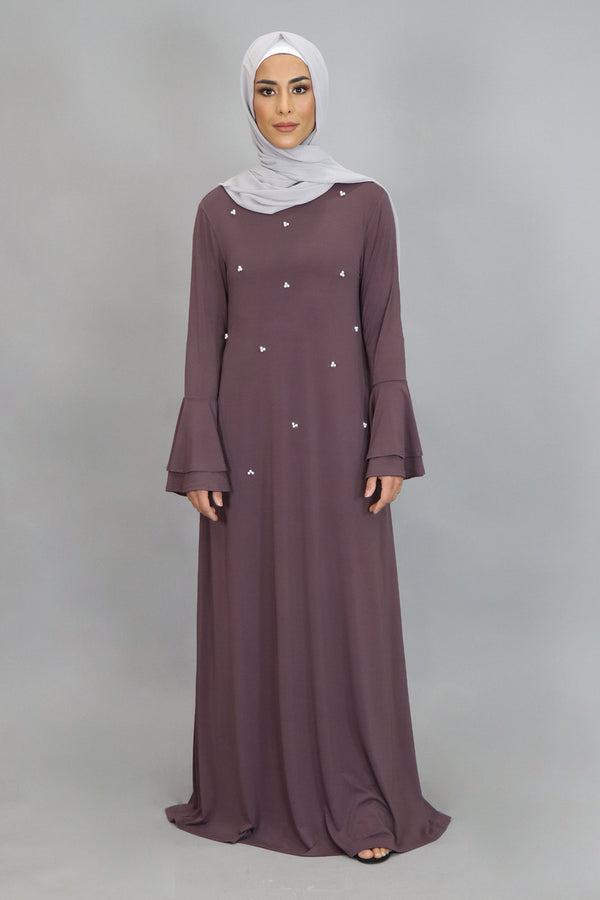 Dark Lavender Double-Bell Pearls Spandex Maxi Dress (4549727354937)