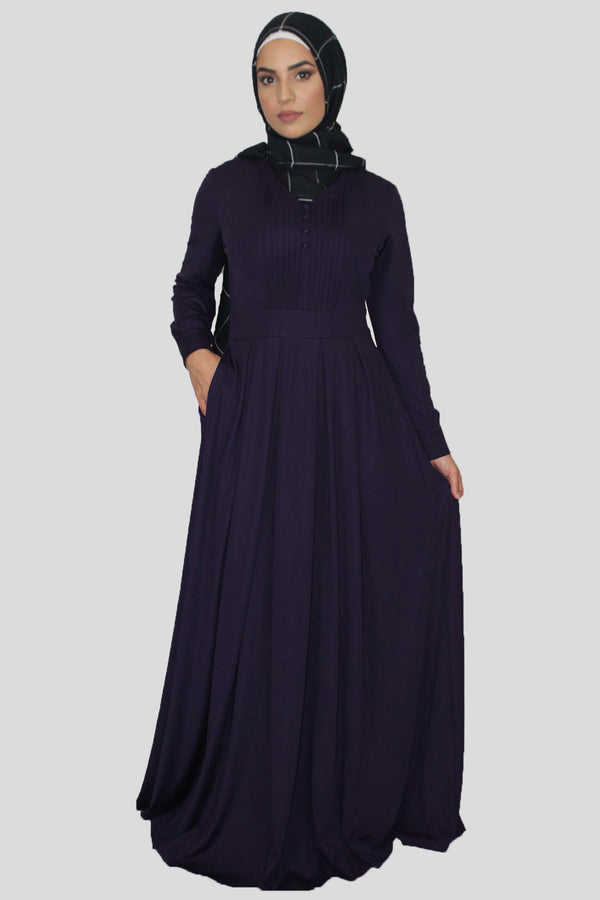 Purple Pleated Maxi Dress (1650261884985)